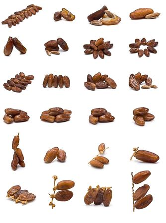 green dates: Dates collection isolated on white background.