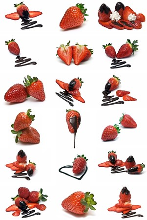 Strawberries with chocolate collection.