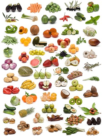 Fruit, vegetables, spices and nuts. photo