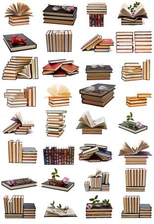 old books: B�cher-Auflistung, die isoliert auf wei�em Hintergrund.
