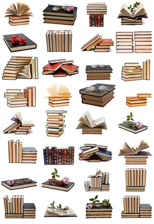 text books: Books collection isolated on a white background.