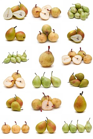 Pears collection isolated on a white background. photo