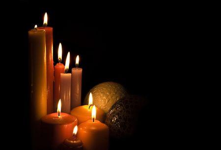 Carte de Noël avec des bougies.