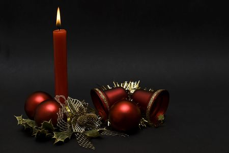 christmas wreaths: Christmas card with candles.