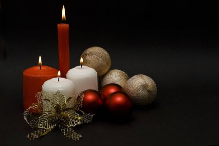 Christmas card with candles. photo