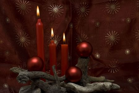 end of the world: Christmas card with candles.