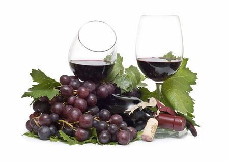 phase: Wine and grapes. Stock Photo