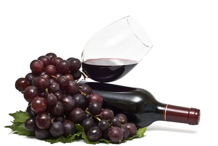 taster: Wine and grapes. Stock Photo