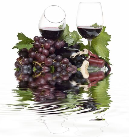 Reflections of wine and grapes. photo