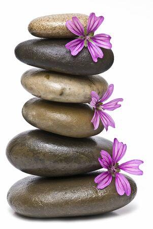 spiritual meditation creation: Healing stones in balance. Stock Photo