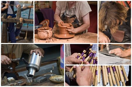 handicrafts: Artisans working. Stock Photo
