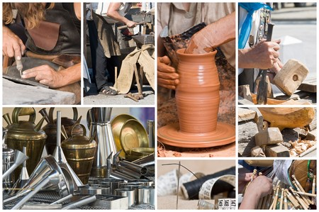 fairs: Artisans working. Stock Photo
