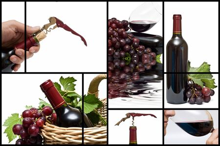 organic drinks: Collage about wine.