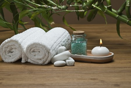 spa candles: Spa background with bath salts and a candle.