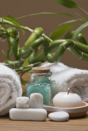 bath salts: Spa background with bath salts and a candle.