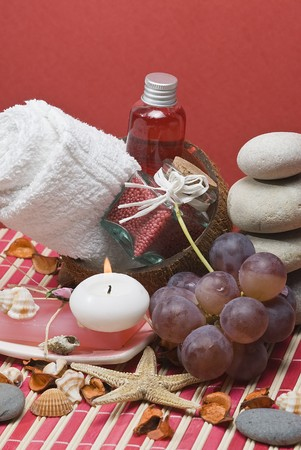 Spa background with hygiene items in red. photo