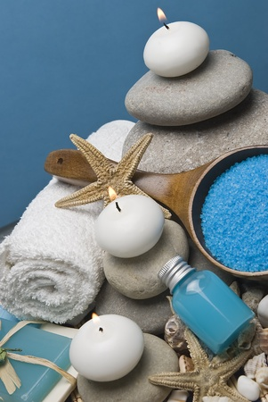 bath salts: Spa background in blue.