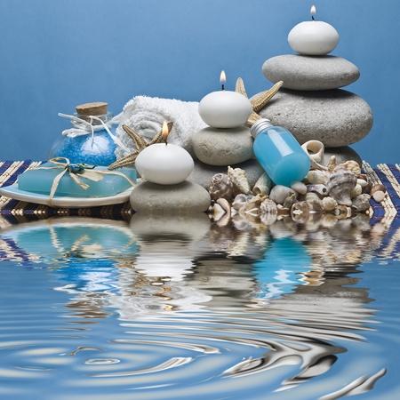 kerzen: Spa-Hintergrund in blau. Lizenzfreie Bilder