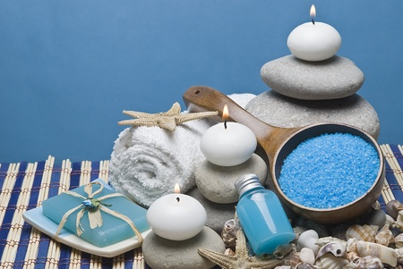 Spa background in blue. photo