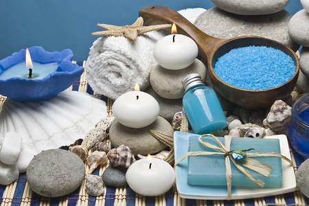 stone wash: Spa background in blue.