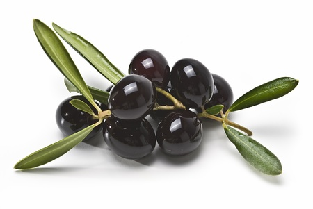 Black olives isolated on a white background. Stock Photo