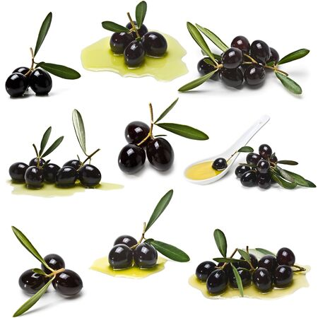 A collection of balck olives isolated on a white background. Stock Photo