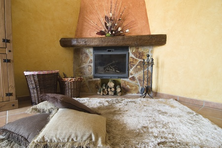 Detail of the fireplace in the living room. photo