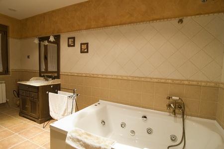 hygienics: A bathroom with a whirlpool tube. Stock Photo