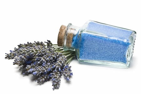 bath salts: Lavender and hygiene items made of lavender isolated on a white background.