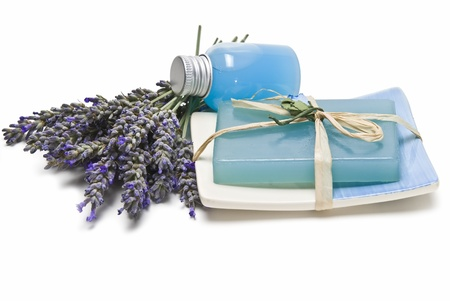 Lavender and hygiene items made of lavender isolated on a white background. photo