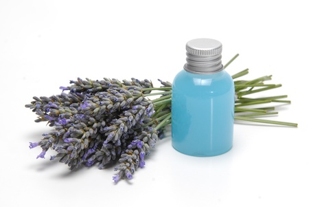 lavender bushes: Lavender and hygiene items made of lavender isolated on a white background.