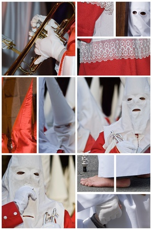 Collage made of photos about Spanish easter processions. photo