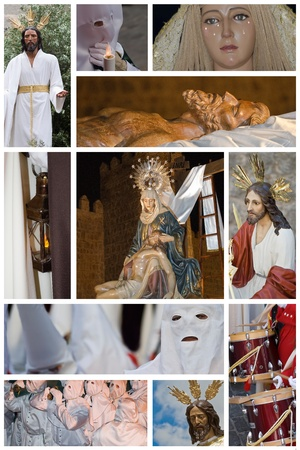 penitence: Collage made of photos about Spanish easter processions.
