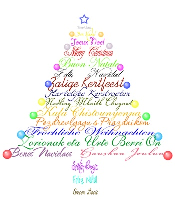 Christmas tree made with the phrase Merry Christmas in several languages. Stock Photo