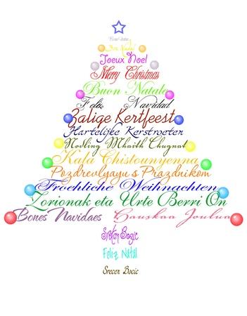 Weihnachtsbaum aus mit dem Satz Frohe Weihnachten in mehreren Sprachen. Lizenzfreie Bilder - 10988871