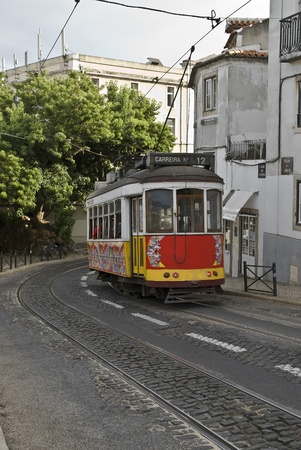 tramcar: Classic tram on the streets of Lisbon in Portugal, Europe.