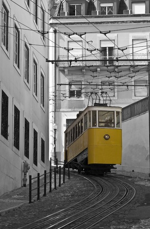 Classic tram on the streets of Lisbon in Portugal, Europe. Stock Photo - 11129227