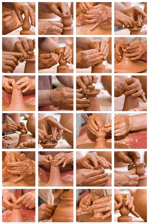 Collage made of photos about potter hands working with clay. photo