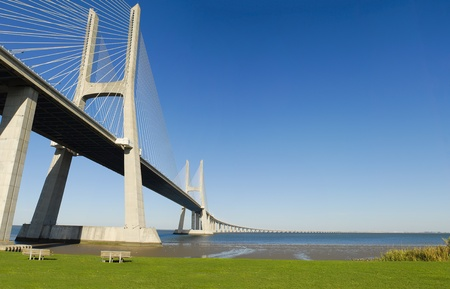 Vasco da Gama bridge over Tagus river in Lisbon, Portugal.
