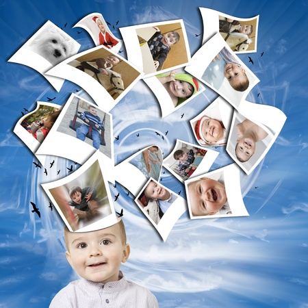 Image representing the thoughts of a child  made of  photographs of the things he likes, coming out from his head. Stock Photo - 11324050