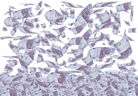 flying money: A lot of 500 euros bills falling like rain. Stock Photo