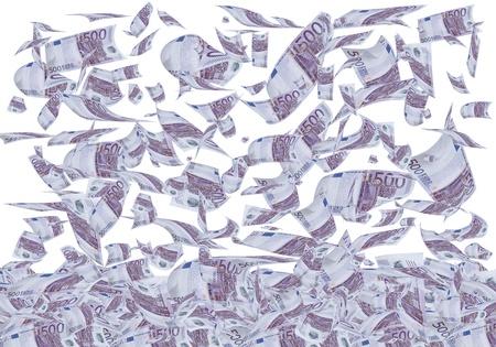 dinero volando: Una gran cantidad de billetes de 500 euros a caer como lluvia. Foto de archivo