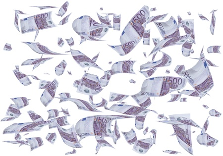 plunder: A lot of 500 euros bills falling like rain. Stock Photo