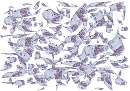 A lot of 500 euros bills falling like rain. photo