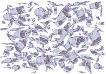 euro bill: A lot of 500 euros bills falling like rain. Stock Photo