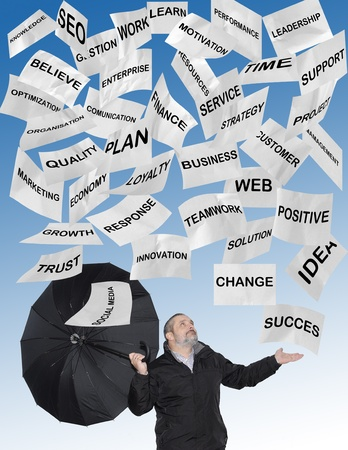 Modern business concepts written in notes falling from the sky Stock Photo - 11324089