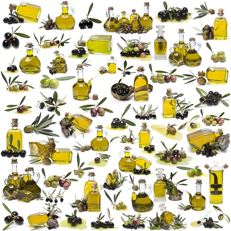 The largest collection of images about olive oil isolated over a white background.