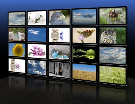 A group of monitors with images of nature and relaxing themes.