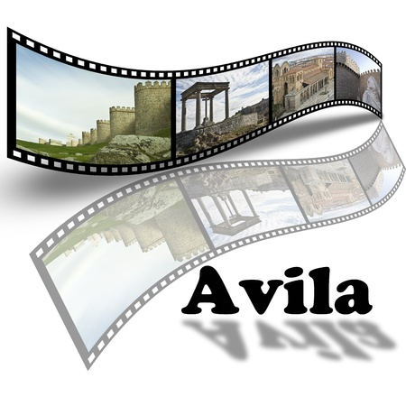Collage with pictures about Avila in Spain in film style.  photo