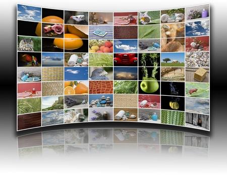 一度に複数の画像を投影する近代的なモニター グループ。 写真素材 - 11791925